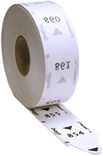 1 Roll of 3-Digit Turn-O-Matic T80 White Take a Number Tickets for D80 Ticket Dispenser - 3000 / roll