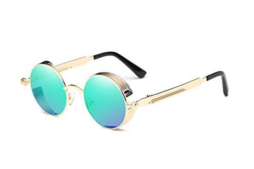 Dollger Gafas de sol retro Steampunk UV400, protección de metal, circular, marco, Grüne Spiegellinse / Goldrahmen, Geeignet für alle Gesichtsformen