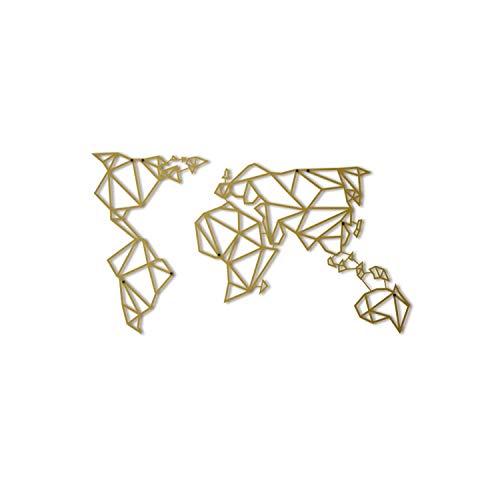 Hoagard Metal World Map Gold XL Weltkarte aus Metall Gold | 80cm x 140cm | Geometrische Metallwandkunst, Wanddekoration