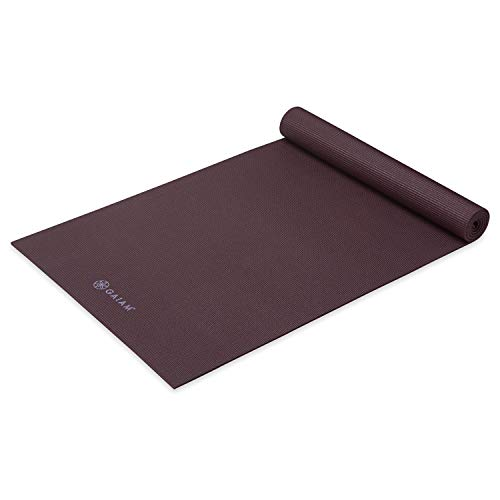 Gaiam Yoga Mat Premium Solid Color Non Slip Exercise & Fitness Mat for All Types of Yoga, Pilates & Floor Workouts, Wild Aubergine, 5mm