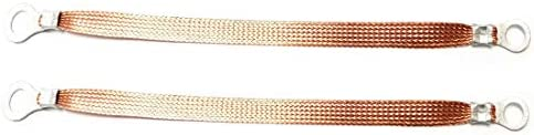 2 PCS 1 2 Width Flat Braided Bare Copper Engine Grounding Strap Copper Ground Braids 8 Length product image
