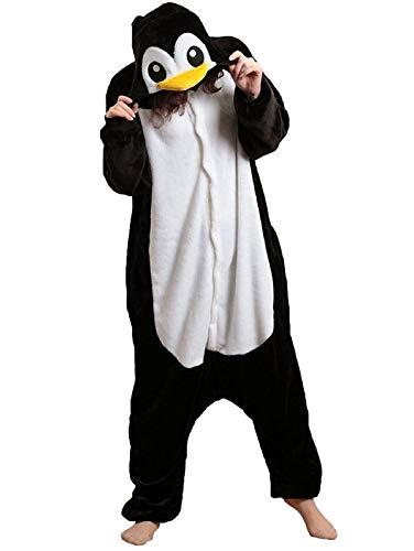 Anbelarui Pinguin Pyjama Tieroutfit Tierkostüme Schlafanzug Tier OneSize Sleepsuit mit Kapuze Erwachsene Unisex Fleece-Overall Kostüm Festival tauglich (XL (176-185CM))