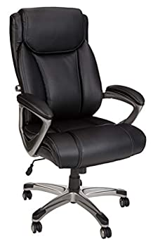 Amazon Basics Big & Tall Executive Computer Desk Chair Black with Pewter Finish