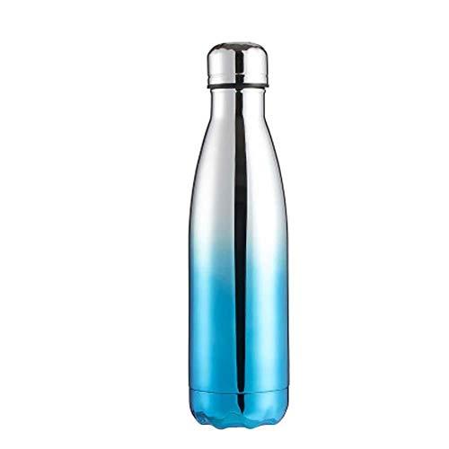 Vommpe 1 x Metall-Wasserflasche Edelstahl Wasserflasche Isolierung Wärmflasche für Erwachsene Reisen Outdoor 500 ml Kupfer, hellblau