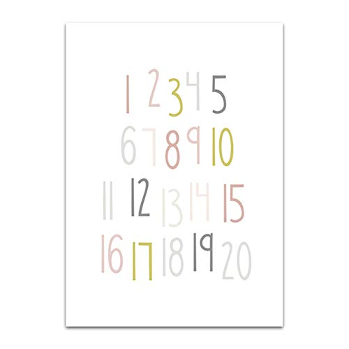 ABC Alphabet Poster Malerei Nummer Regenbogen-Leinwand-Druck Custom Name Art Bilder Nursery Dekor-Wand-Plakat for Baby-Raum (Color : B, Size : 30X42cm No Frame)