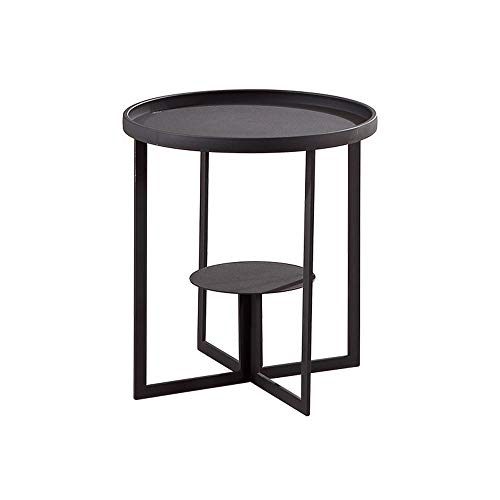Tables FEI - Bureau d'ordinateur Basse Mobile en métal de latérale de Fer Noir de Fer forgé, Ronde d'extrémité de Sofa pour Le Salon, Chambre à Coucher pour Tous Les postes de Travail