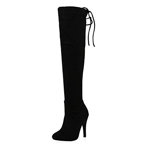 SCARPE VITA Damen Overknees Stiefel Wildleder-Optik Elegante Absatzschuhe Stiletto High Heels Schuhe 197153 Schwarz 40
