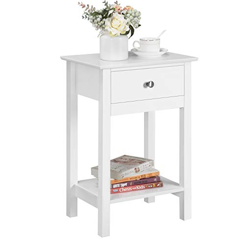 Yaheetech Bedside Table Wooden Side Table Shabby Chic Nightstand Table Cabinet Storage Unit with Drawers Shelf White Gloss
