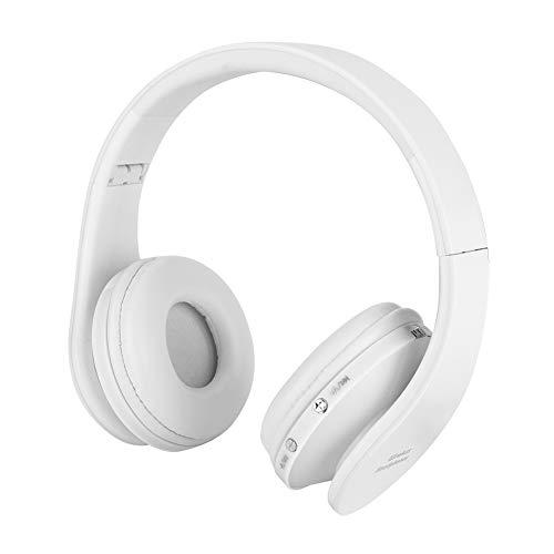 Topiky Bluetooth gaming headset, draadloos stereo hifi-geluid via het oor opvouwbare hoofdtelefoon met ontvanger en microfoon voor de PS4-console, wit