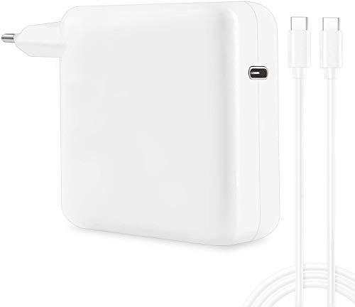 Cargador USB C de 96 W con cable tipo C de 1,8 m, repuesto para USB-C 87 W, 61 W, 30 W, compatible con Mac Book Air/Pro/Retina, i Pad Pro, Asus, Dell, Samsung y otros controladores USB C, color blanco