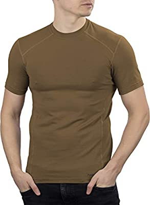 281Z Military Stretch Cotton Underwear T-Shirt - Tactical Hiking Outdoor - Punisher Combat Line (Coyote Brown, Small)