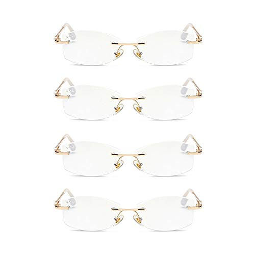 JTeam Damen Lesebrille 4 Paar Anti-Blaulicht Randlose Brille Diamant Schliff (Color : Gold, Size : 3.00X)
