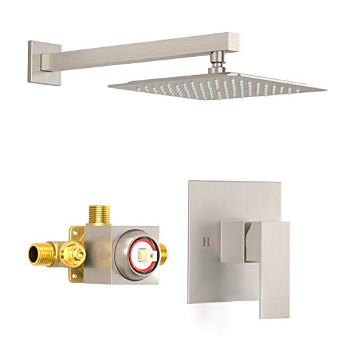 SunCleanse Shower Faucet Set With Valve, Bathroom Shower System Included Stainless Steel Metal Rainfall Shower Head and Extra Long Shower Arm, Brushed Nickel