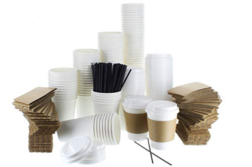 Brew Addicts 12oz Coffee Cups Combo - [60 Pack] White Insulated Disposable Hot Cups with Lids, Sleeves and Stirrers for Tea, Hot Chocolate. For To-Go Travel Mug, Parties