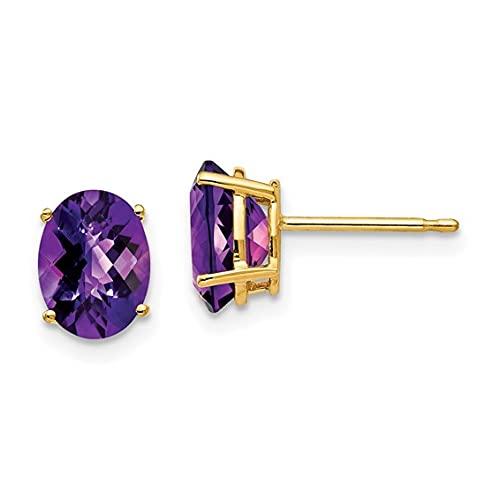 Jewelry-14k 8x6mm Oval Amethyst Checker Earrings