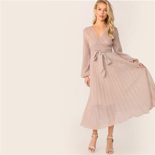 GMZA Plissé-glitterjurk met halsgordel V-wikkel-zomerjurk met hoge taille glamoureuze roze jurken met hoge taille
