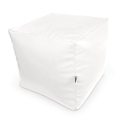 Natalia Spzoo® Sitzwürfel aus Kunstleder zum sitzen Spielen usw. super leicht (Weiß)