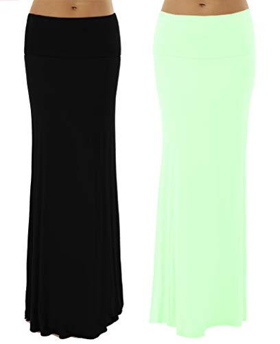 Dinamit Jeans 2 Pack Women's Rayon Spandex Maxi Skirt Black Mint L