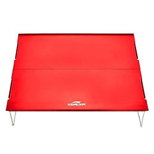 Soomloom アルミ テーブル アウトドア用 折りたたみ式 超軽量 エクササイズ 携帯便利 (レッド2)