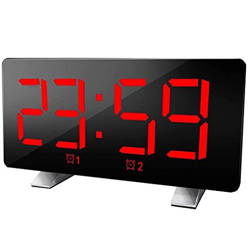 Despertador Digital Rojo, Reloj Digital LED, Red eléctrica Junto a la Cama...