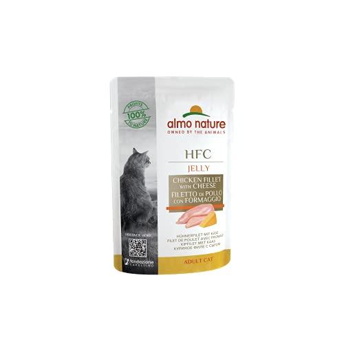 almo nature Comida Húmeda para Gatos Natural de Pollo - Queso (24 Sobres x 55g). Alimento para Gatitos Gourmet Monoproteíco HFC Cuisine. Snack Complementario sin Gluten. ⭐