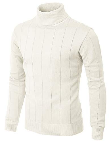 H2H Mens Casual Slim Fit Pullover Sweaters Knitted Turtleneck Long Sleeve Stripe Patterned Ivory US L/Asia XL (CMOSWL049)