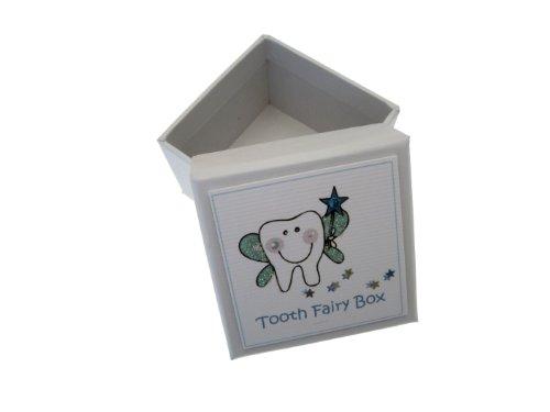 White Cotton Cards garçon bleu Dent Boîte à dents (Bleu)