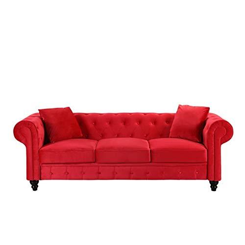 BHDesign Mila - Divano Chesterfield a 3 posti, in velluto, colore: Rosso