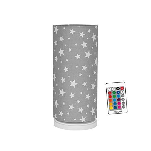 youngDECO dimmbares Nachtlicht mit Fernbedienung, 16 Farben LED Nachttischlampe für Baby und Kind, skandinavische Kinderzimmer-Deko für Mädchen & Junge, Sterne auf Pastellgrau, hergestellt in der EU