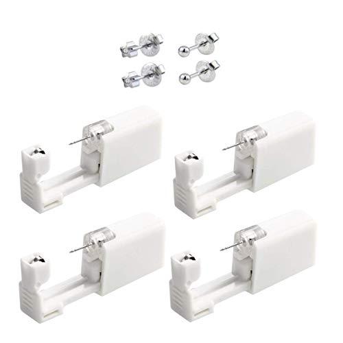 Set di 4 piercing per orecchio usa e getta, con ago, strumento di sicurezza per aspsi indolore, pistola con 4 orecchini