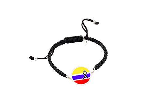 Pulsera Bandera Colombia Crespón Negro   Pulsera mujer  Pulsera hombre  Pulsera personalizada  Regalo original  Bandera Colombia Lazo Negro   Yo me quedé en casa (No Personalizada, Plata Brillo)