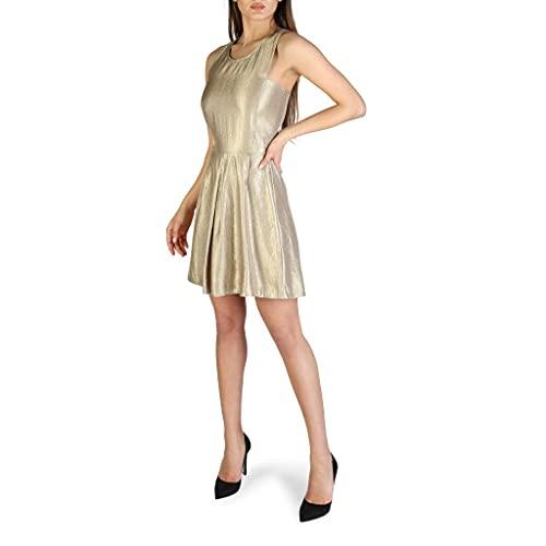 Armani Exchange AX Damen Metallic Cut-Out Back Dress Legeres Abendkleid, Gold, 38