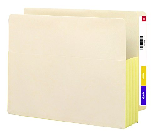 """Smead End Tab File Pocket, Reinforced Straight-Cut Tab, 3-1/2"""" Expansion, Fully-Lined Gusset, Letter Size, Manila, 10 per Box (75164)"""