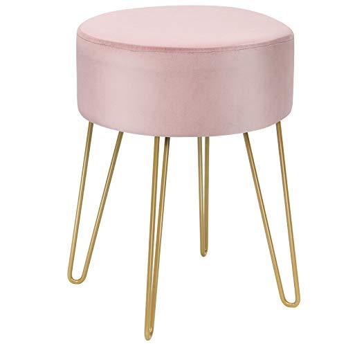 Giantex Samthocker rund, Schminkhocker Sitzhocker mit Metallbeinen, moderner Fußhocker Polsterhocker Ottoman Hocker für Schlafzimmer Wohnzimmer Umkleidekabine (rosa)