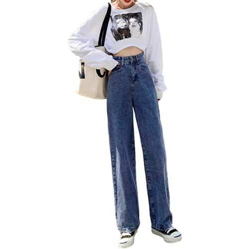Pantalones Vaqueros de Mujer Pantalones Anchos Casuales Pantalones Vaqueros de Novio Lavados a la Piedra de Mezclilla para jóvenes para otoño e Invierno XXL