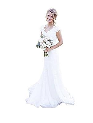 SIQINZHENG Mermaid Full Lace Wedding Dresses Cap Sleeve Bridal Gowns Ivory