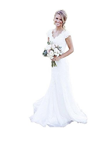 SIQINZHENG Women's Lace Wedding Dresses Long White Dress Mermaid Bridal Gowns