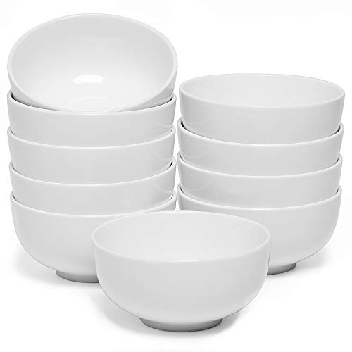 amHomel Small Soup and cereal Bowls-Set of 10,Durable Porcelain Bowls for Side Dishes ,Dessert, Ice Cream, Rice, 4.5 Inch Diameter, 12 Fluid Ounces, White