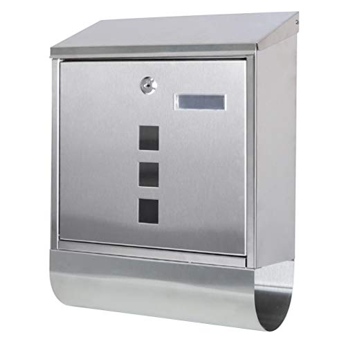 "Decaller Stainless Steel Mailboxes with Sturdy Key Lock, Wall Mounted Waterproof Mail Box with Transparent Cover, 15.4"" x 12""x 4.8"""