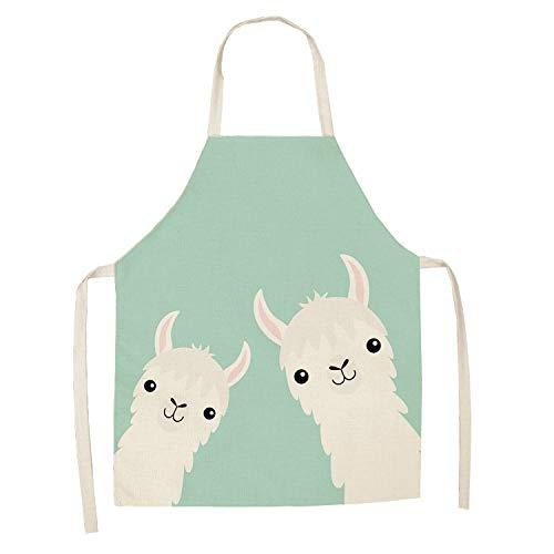 Masterchef 1 unids Cocina de cocina de alpaca linda delantales para mujeres chefs hornear baberos impermeables de algodón de algodón limpieza del hogar delantal (Color : WQL0142 2)