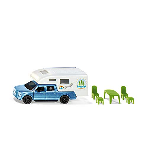 Siku 1693, Ford F150 Pick-Up Camper, Metall/Kunststoff, Blau/Weiß, Stühle, Hocker und Tisch, Ausziehbare Markise