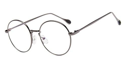 DAUCO Unisex Silber Und Schwarz Retro Sixties Style rund Metall Brillen Klare Linse