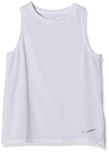 Nike Mädchen G NK BRTHE Run AOP2 Tank, White/Reflective Silv, M