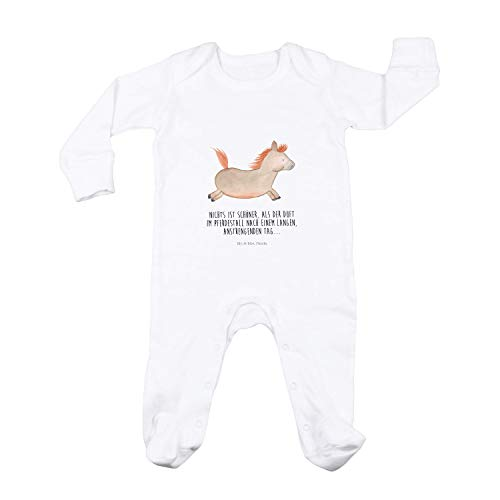 Mr. & Mrs. Panda Geschenk, Spielanzug, 6-12 Monate Baby Strampler Pferd springt mit Spruch - Farbe Weiß