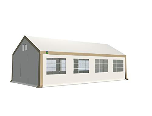 KC Partyzelt 4x8 m Pavillon Zelt 500g/m² - PVC Plane - Gartenzelt Festzelt Bierzelt - Rahmen aus Stahl - Inkl. Seitenwände & Giebelwände - Beige