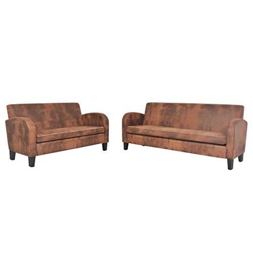 vidaXL Sofa Set 2-TLG. Kunstleder in Wildleder-Optik Braun Couch Polstersofa