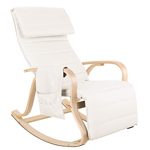 Homfa Rocking Chair Lounge Chair Relax Recliner with Adjustable Footrest Side Pocket Nursing Reading Chair Beige