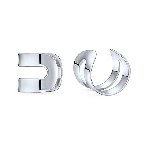 Unisex Minimalistische Geometrische Split Band Knorpel Ohr Manschette Ohrringe Wickeln Helix Nicht Durchbohrt Für Teen 925 Sterling Silber