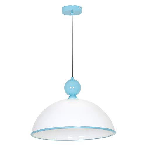 Zeitlose Hängeleuchte in Blau Weiß 1x E27 bis zu 60 Watt 230V aus Kunststoff & Metall Küche Esszimmer Pendelleuchte Hängelampe Pendellampe Beleuchtung