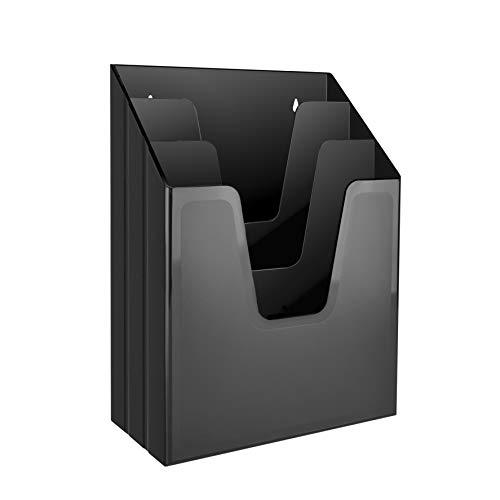 Acrimet Organizador Vertical con 3 Compartimientos para Escritorio o Pared (Color Negro)